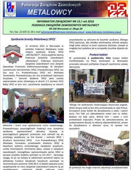 Informator Związkowy 10/2016