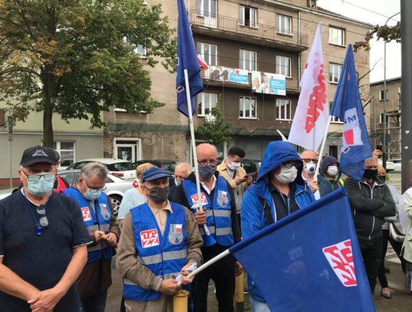 Protest pracowników HCP Cegielski  w Poznaniu