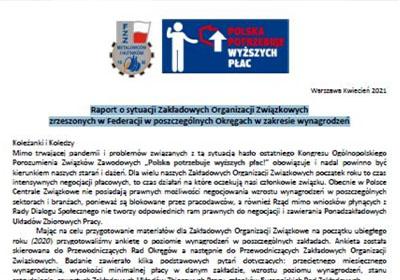 Raport o sytuacji Zakładowych Organizacji