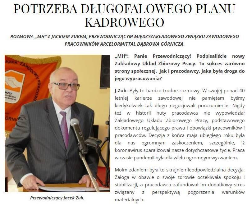 Jacek Zub Przewodniczący MZZ Pracowników AMP Dąbrowa Górnicza w Magazynie Hutniczym